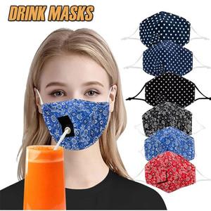 Adulto Menor Máscara bebida con el agujero para el algodón lavable a prueba de polvo de paja reutilizable Máscaras Máscaras para beber al aire libre partido de la máscara de la boca DHC1672