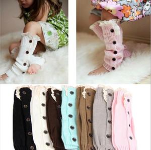 Winter Kids Knit Wool Sleeve Bein-Socken-Baby-Knit Stiefel Stulpen Stulpen Kinder Lange Strümpfe Knopf Lace Booties Sleeves New E9103