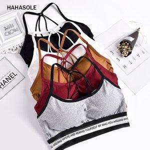 돌아 가기 몸통 통기성 스트랩 브라 크로스 고탄성 HWA5068-40없이 HAHASOLE 스포츠 브라 여성의 민소매 조끼 줄무늬
