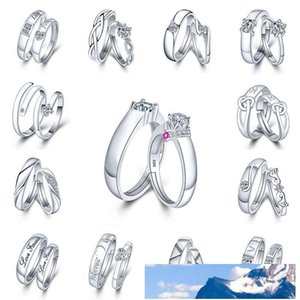 Wedding Rings For Love silver Crystal CZ Couple Rings Set Men Women Engagement Wedding Ring will and sandy drop shipping