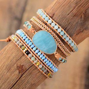 Exclusive Wrap Bracelets Jewelry Handmade Natural Stone Crystal Leather Wrap Bracelet Statement Cuff Bangles Bracelets Gift