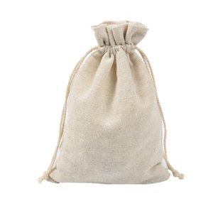 """50pcs Linen presente Bolsas 12cmx16cm (4,71 """"x6.28"""") titulares favor de partido de casamento de armazenamento de algodão Muslin Bolsas Jóias Drawstring Bolsas"""