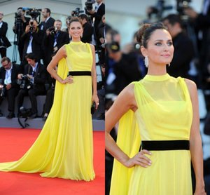 2019 Venice Film Festival Long Yellow Celebrity Dresses Evening Wear Chiffon Party Gowns A Line Elegant Prom Dresses