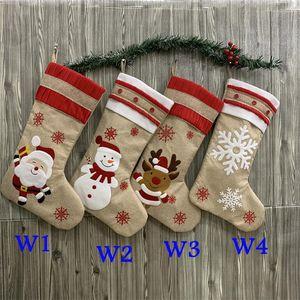 4 Styles Creative Christmas Socks Cartoon Candy Gift Bag Santa Claus Elk Decorations Holiday Party Room Ornaments