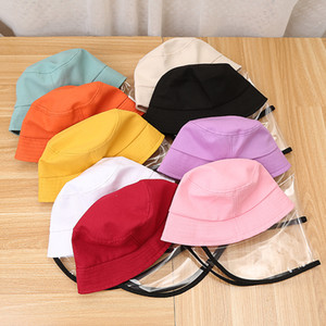 DHL Shipping Kids Bucket Hat Shield Children Face Shield Mask Anti Foam Hood Protective Cap Isolation Fisherman Hats Outdoor Sun Cap L560FA