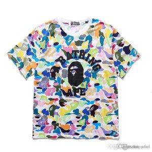 2019 couleur Camo Cartoon pour hommes Imprimer Hip Hop T-shirts Hommes Femmes ronde loose Casual cou T-shirts