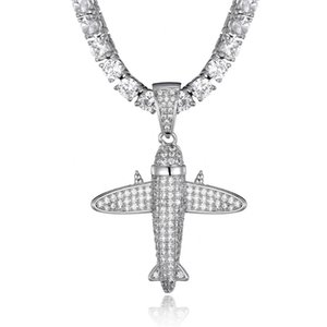 Hip Hop Full CZ Stone Aircraft Pendant Fashion Airplane Necklace Luxury Jewelry With 24 Inches Iced Out Tennis Chain