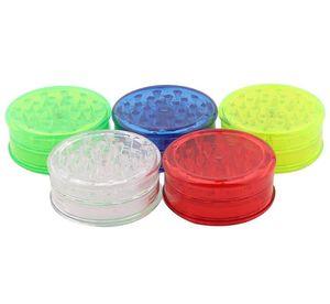 60mm tabac Grinder en plastique Hachoir de fumée 3 LayerTransparent Mills plastique Fit dents colorées pour Grinders Smoke Accessoires GGA3624-2