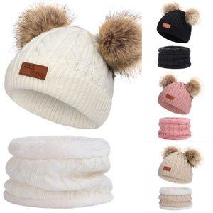 Горячий высокое качество зимы Толстые Wool Hat Дети Velvet Открытый Теплый Beanie Шляпы младенца Bib Двухсекционный Набор для мальчиков девочки Теплые шапки