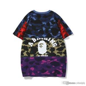 Neue Ankunfts-Teenager Camouflagedruck Farbabstimmung T-Shirt Männer Sport-Rundhalsausschnitt lose kurze Hülsen-T-Shirts