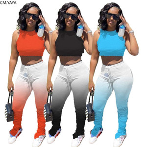 CM.YAYA Sport Women Two Piece Set Mini Tank Tops Gradient Stacked Bell Bottom Flare Jogger Sweappant Suit Tracksuit Matching Set X0923
