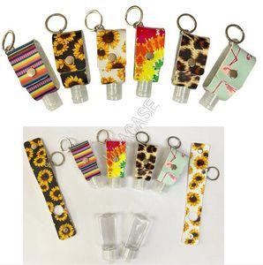 30ML Hand Sanitizer Bottle Bag Cover Sleeves PU Leopard Sunflowers Key Chain Holder Pendent Hand Sanitizer Bottle Cover Key Ring Sale D92103