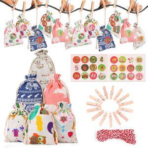 Víspera de Navidad regalo bolsas colgantes 24 PC / porción pequeña de tela con asas de Navidad Calendario de Adviento de Navidad Algodón Lino Bolsa Conjunto