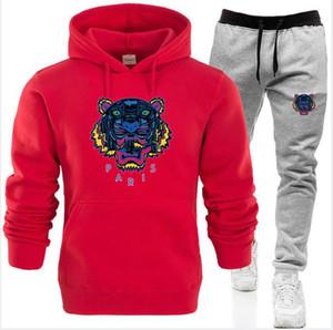 Sonbahar Kış Kaplan Kafa Spor Fitness Eşofman Erkekler Kapüşonlular Siyah Beyaz Casual women Erkek Giyim 2PCS Kazak + Ter Pantolon ayarlar