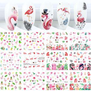 12pcs Flamingo Nail Sticker Flower Leaf Water Decal Transfer Nail Sliders Summer Tattoo Nail Art DIY Decoration Tip JIA1537-1548