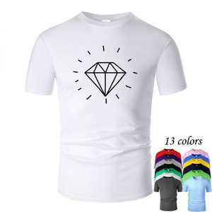 Shiny Diamond bling bling Line Art O Neck Cotton T Shirt Men and woman Unisex Summer Short Sleeve Designed Casual Tee m02026