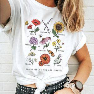 Floración donde le plantan camiseta girasol Estética camiseta de las mujeres ahorran las abejas algodón camisetas chica ulzzang Tops