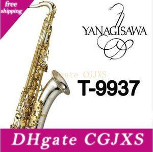 Llegada Nueva Yanagisawa T -9937 Bb saxofón tenor plateado Tubo Gold Key Instrumentos Musicales Sax con el caso Boquilla