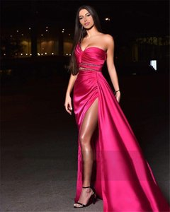 Sexy Side High Split Fuchsia Prom Dresses Ruched Beaded One Shoulder Mermiad Formal Evening Dresses Party Gown Girls Women Pageant Dress
