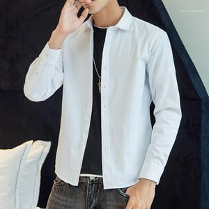 Collar Shirts Mens Pure Color Clothing Mens Designer Long Sleeved Dress Shirts Spring Casual Slim Button Turn Down