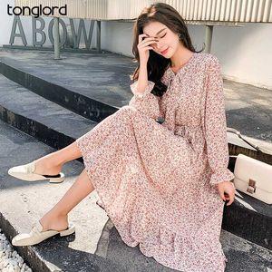 Tonglord Женщины Повседневная 2020 осень платье Lady Vintage цветочные Печатный шифоновое платье с длинным рукавом Mid-теленок офис леди Лук Vostidos