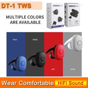 DT1 DT1 TWS Mini Bluetooth V5.0 Kopfhörer-drahtloses Earbuds True Stereo Sport Kopfhörer-Kopfhörer Earbuds + box Charging 4 Farben Bunt
