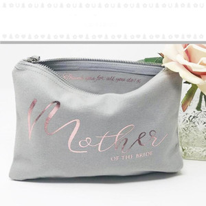 Bag Gray Rose Mother Shower Custom Bride Make Up Personalised Of Bridal Makeup Wedding Bags Bridesmaid Purse Cosmetic Gold Gift Kwoqs