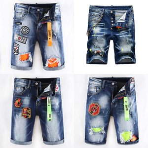 2020 Italia estilo del diseñador de moda para hombre ocasional del verano pantalones cortos de mezclilla jeans de marca bordado Hip Pop Rock Pantalones agujeros Jean D2 Hombres Pantalones