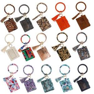 nuovo stile cuoio dell'unità di elaborazione di girasole stampa Wristlet borsa della carta di leopardo Portachiavi Bracciale smerlato borsa borsa camo poncho striscia frizione