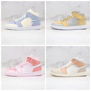 Tamaño nuevas 1 zapatos de baloncesto del medio 1s Rosa Milán tinte del lazo para hombre de Formadores Digital deportes de las mujeres zapatillas de deporte 36-45