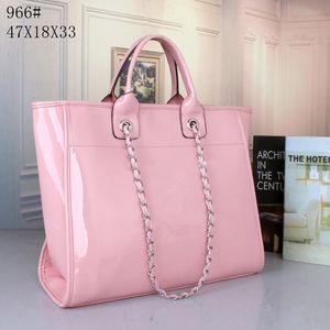 bolsas de couro linda Gloss patente rosa pu para mulheres senhoras aberto grande praia casuais sacolas designer de moda de luxo
