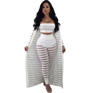 S-XXXL Summer tracksuit Hollow Out Stripe Overalls fashion sexy women's set Three pieces suits Jumpsuit casual nightclub S3365 X0924