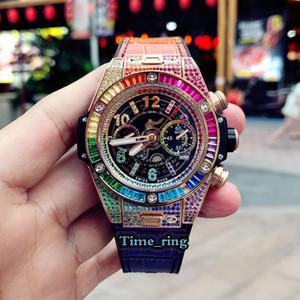 Top versione 411.ox.9910.lr.0999 Scheletro Dial Color Diamond Case HU 1242 Unico Chronograph Movement Mens Gestore in pelle cinturino in pelle Luxry Orologi