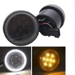 Turn Signal Lights LED Amber Smoked Lens Fender Flares Front Indicator Light Parking Lights for 2007-2020 Wrangler JK JKU