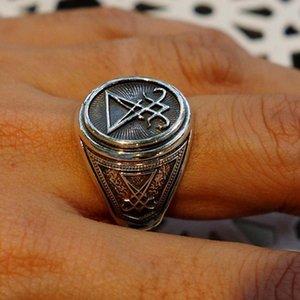 Vantage color plateado Signet Sigil de Lucifer anillo para los hombres del sello de Satanás Oculta la joyería masculina