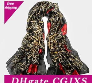 11styles 100 %Silk Shawl Wrap Women &#039 ;S Long Wrap Shawl Beach Silk Scarf Red Flora Black Sparkly Rectangle Scarves 90x180cm 35 &Quot ;