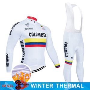 Colombia White winter 2021 Cycling JERSEY 9D Bike Pants set mens Ropa Ciclismo thermal fleece Bicycle clothing Cycling wear