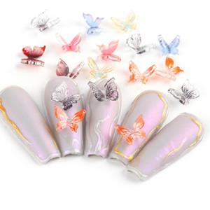 30pcs / rueda del clavo de la mariposa 3D encantos decoración del arte de la joyería colorida Diseño diamantes de imitación del gel DIY uñas de manicura Accesorios TR1817