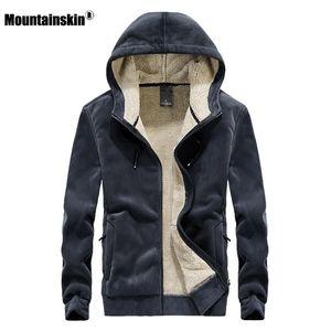 Mountainskin 2020 Winter New Fleece Hoodie Sweatshirt Mens Thick Warm Coat Male Solid Color Jacket Men Brand Clothing 8XL SA811