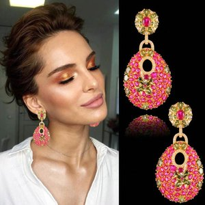 GODKI 50 mm Charms à la mode, de luxe Lien chaîne Boucles d'oreilles pendantes Femmes pleine Mirco CZ Pavée cubique Zircon mariage Bijoux Fashion