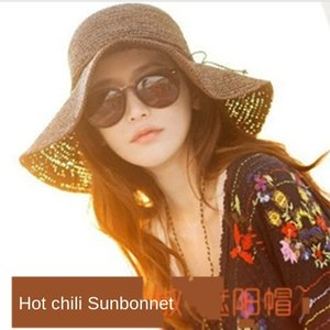 gHNgC Bowknot pimienta misma paja sombrero para el sol del verano mariposa hecha a mano de la mariposa de las mujeres crochet el sombrero plegable frontera grande