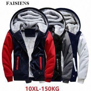 FAISIENS hommes Vestes plus grande taille 7XL 8XL Big capuche épais chaud Toison Parkas 9XL 10XL Hiver Noir Patchwork Out Wear Manteau Mens Ja FQyw #