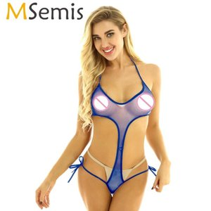 MSemis Mulheres Transparente Sexy Lingerie ver através Sheer Bodysuit High Cut Swimsuit Swimwear Backless Monokini Thong Léotard