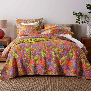 CHAUSUB Arancione Stampa copriletto di cotone Piumone 3PCS Coverlet copriletto federa king Queen Size Quilts trapuntato Blanket