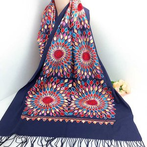 Mulheres Grosso Cashmere Lenços Nepal tibetano sol flor lenço bordado elegante Tassel longo xaile quente malha das senhoras