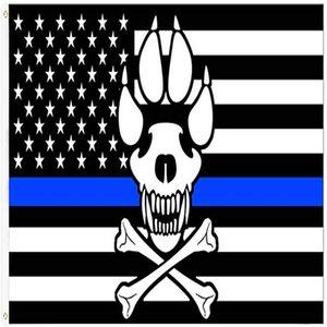بيع مع الأزرق 3x5ft رقيقة العلم أمريكا المسألة في الهواء الطلق الحلقات الخط الساخن الجمجمة زينة شرطة حياة tgOiy homes2011