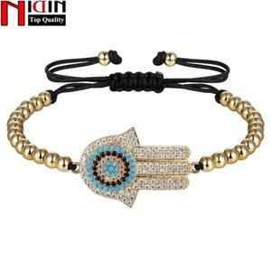 NIDIN récent forme Palm chaîne Bracelet pour les femmes Mesdames brillant zircon cubique Charm main bijoux Ajuster la taille