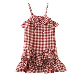 Excelent Clearance New summer babys Dress Toddler Kids Baby Girls Clothes Plaid Ruffles Party Pageant Princess Dress Z0207