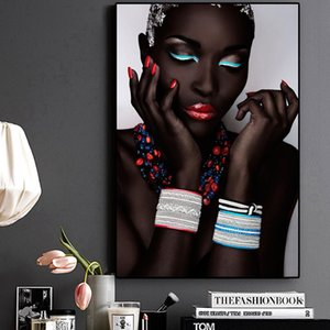 Sexy Black Nude African Woman Lips and Nails Canvas Painting Posters and Prints Scandinavian Wall Art Picture for Living Room