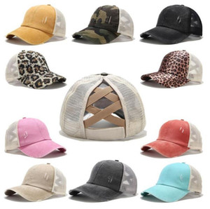 16 Colors Ponytail Baseball Cap Messy Bun Hats For Women Washed Cotton Snapback Caps Casual Summer Sun Visor Outdoor Hat DLH467